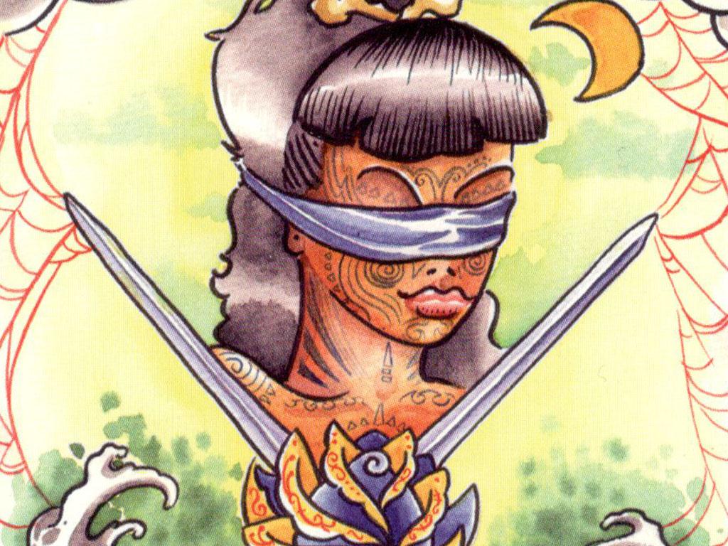 Detail van de Zwaarden 2 van de Tattoo Tarot